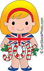 ragazza, natale, britannico