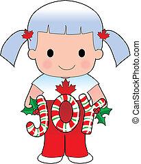 ragazza, natale, canadese