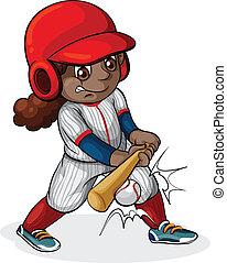 ragazza nera, baseball, gioco