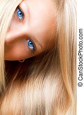 ragazza, occhi, blu, hair., biondo, biondo