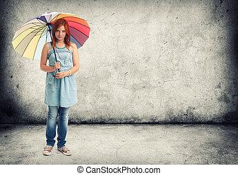 ragazza, ombrello, giovane