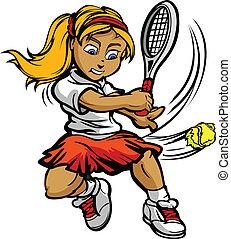 ragazza, palla, racquet, oscillazione, giocatore, tennis, capretto