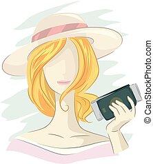 ragazza, passaporto, illustrazione