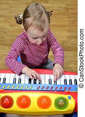 ragazza, pianoforte gioca, poco