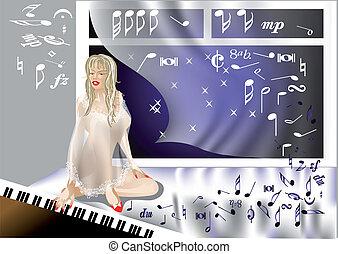 ragazza, pianoforte