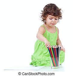 ragazza, poco, disegno, matite