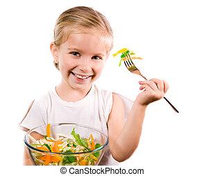 ragazza, poco, verdura