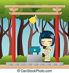 ragazza, pregare, giapponese