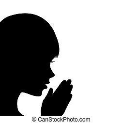 ragazza, pregare, giovane
