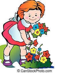 ragazza, raccogliere, flowers.