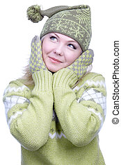 ragazza, riscaldare, vestiti