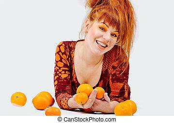 ragazza, rosso, arance