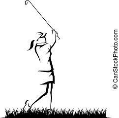 ragazza, ruvido, golfing