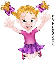 ragazza, saltare, cartone animato, felice