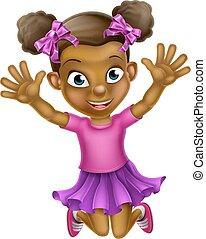 ragazza, saltare, nero, cartone animato, felice