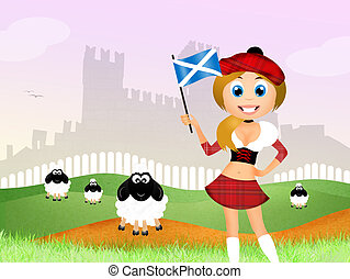 ragazza, scozzese