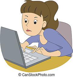 ragazza, scrittore, digiuno, dattilografia