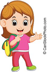 ragazza scuola, camminare, cartone animato