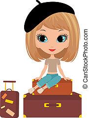 ragazza, sedere, carino, valigia