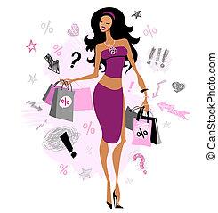 ragazza, shopping