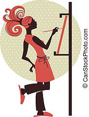 ragazza, silhouette, artista