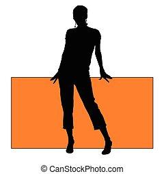 ragazza, silhouette, asse, illustrazione