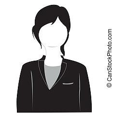 ragazza, silhouette, completo