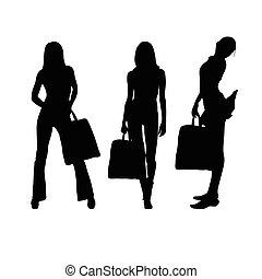 ragazza, silhouette, illustrazione, valigia