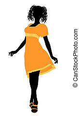 ragazza, silhouette4, illustrazione, moda