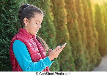 ragazza, smartphone