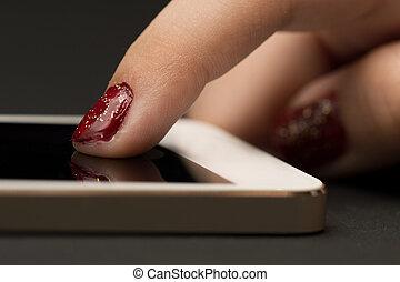 ragazza, smartphone, mano