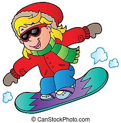 ragazza, snowboard, cartone animato