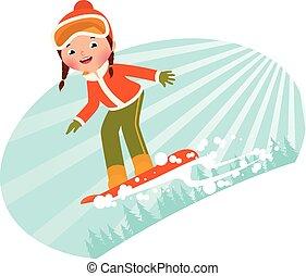 ragazza, snowboard