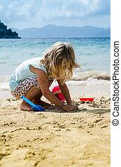 ragazza, spiaggia, gioco, biondo