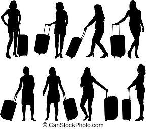 ragazza, suitcase.