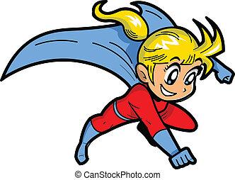 ragazza, superhero, anime, manga