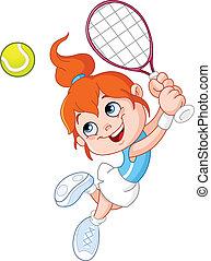 ragazza, tennis