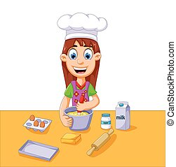 ragazza, torta, cartone animato, fabbricazione, divertente