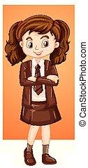 ragazza, uniforme, felice, marrone
