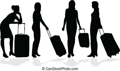 ragazza, valigia