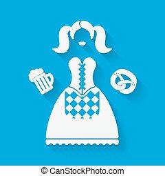 ragazza, vestire, birra, nazionale, pretzel, tazza