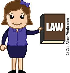 ragazza, vettore, libro, legge, presentare