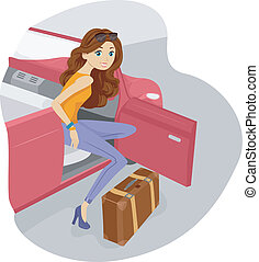 ragazza, viaggiare