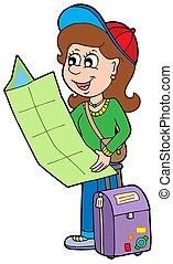ragazza, viaggiatore, cartone animato