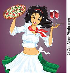 ragazza, vino, pizza, italiano