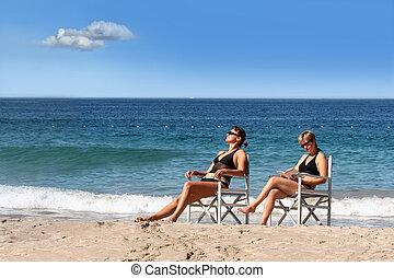 ragazze, 2, spiaggia