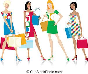 ragazze, borse da spesa