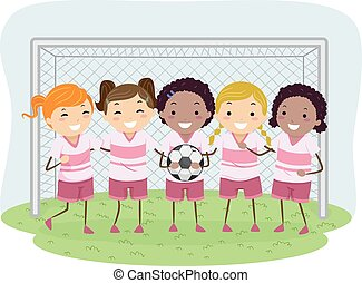 ragazze, calcio, stickman, bambini