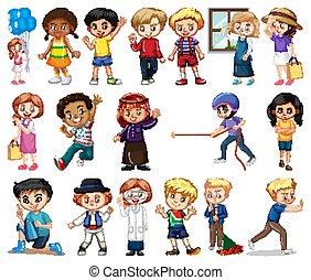 ragazze, differente, grande, fondo, set, ragazzi, bianco, attività