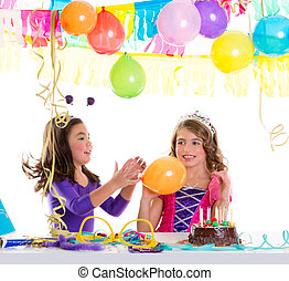 ragazze, festa compleanno, palloni, bambini, felice